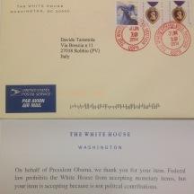 Ringraziamenti della Casa Bianca per l'artista Tarantola in occasione della bicicletta aerografata per le vittime dell'11 settembre